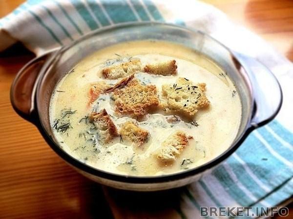 Сырный суп-пюре с сосисками